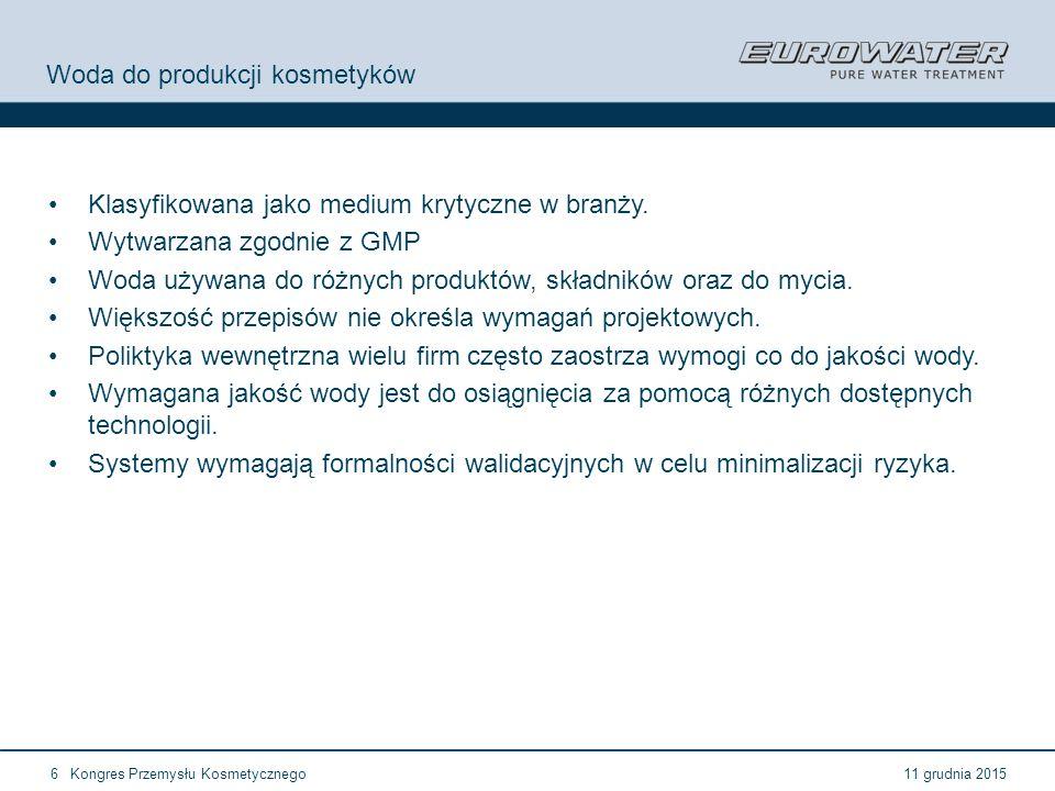 11 grudnia 2015Kongres Przemysłu Kosmetycznego6 Woda do produkcji kosmetyków Klasyfikowana jako medium krytyczne w branży. Wytwarzana zgodnie z GMP Wo