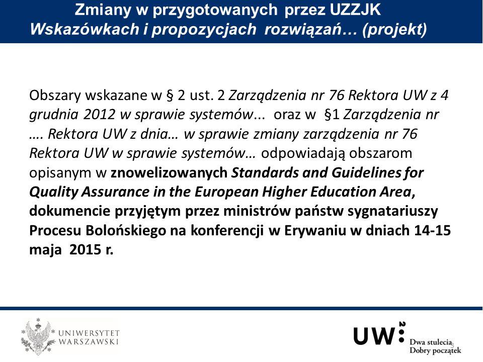 Obszary wskazane w § 2 ust. 2 Zarządzenia nr 76 Rektora UW z 4 grudnia 2012 w sprawie systemów...