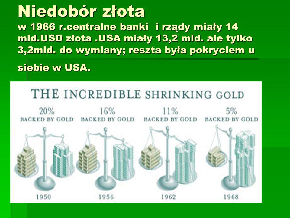 Niedobór złota w 1966 r.centralne banki i rządy miały 14 mld.USD złota.USA miały 13,2 mld.