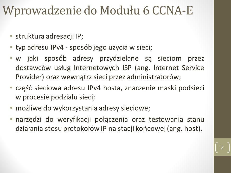 Wprowadzenie do Modułu 6 CCNA-E struktura adresacji IP; typ adresu IPv4 - sposób jego użycia w sieci; w jaki sposób adresy przydzielane są sieciom prz