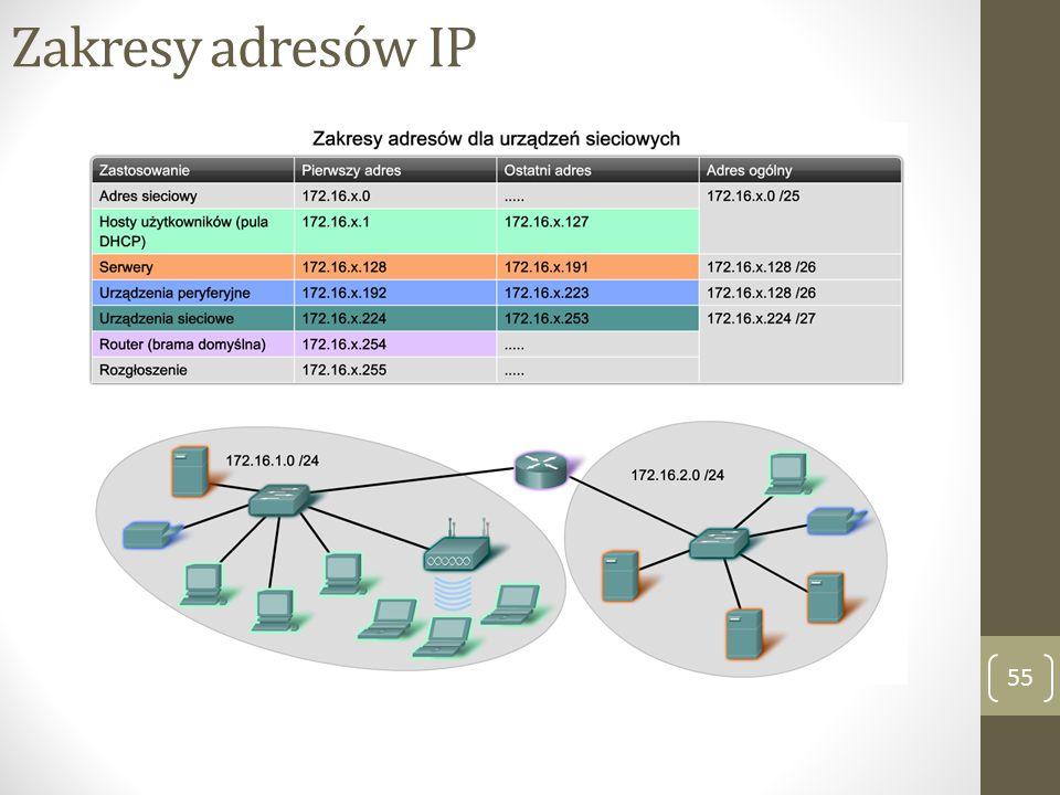 Zakresy adresów IP 55