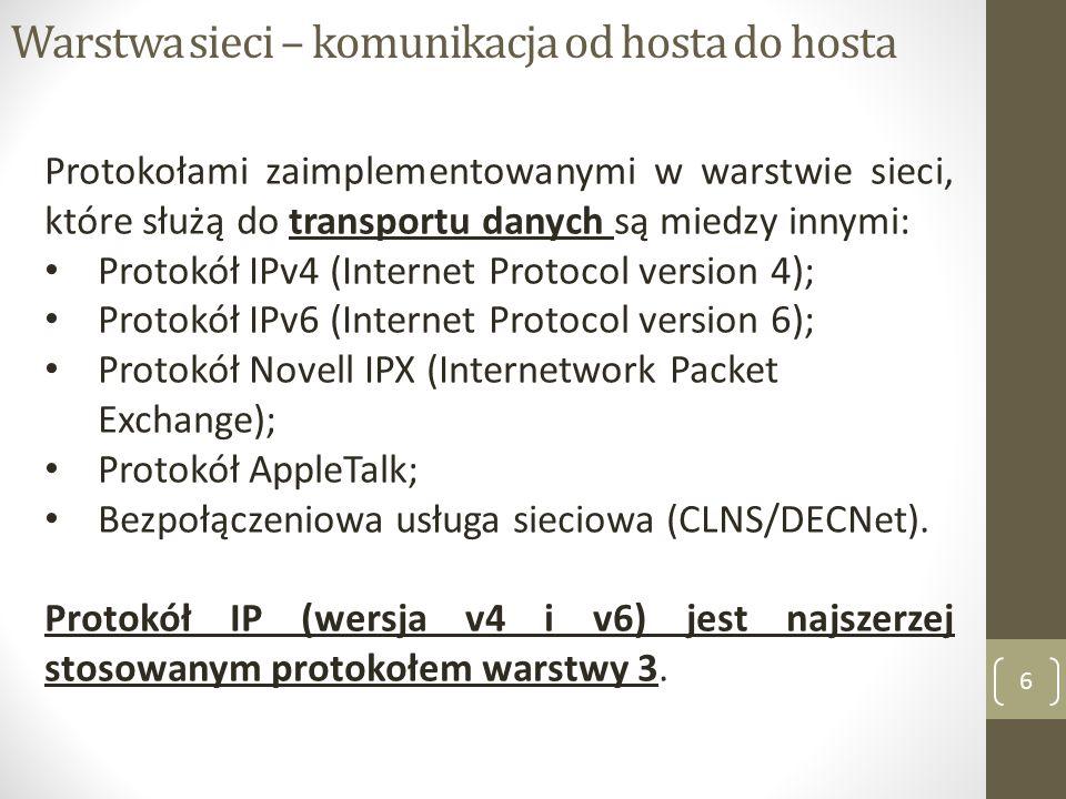 Zadania protokołu IP v4 7 Protokół IP został zaprojektowany jako protokół z niedużym narzutem (dodatkowa ilość danych związana z nagłówkiem pakietu).