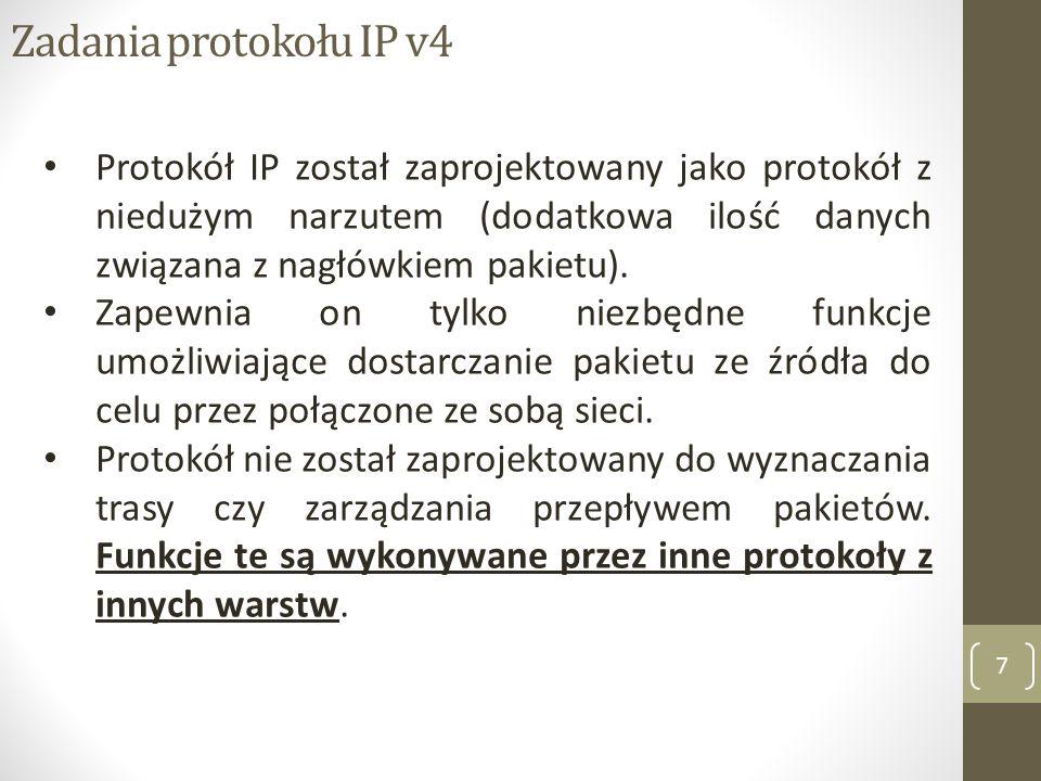 Zadania protokołu IP v4 8