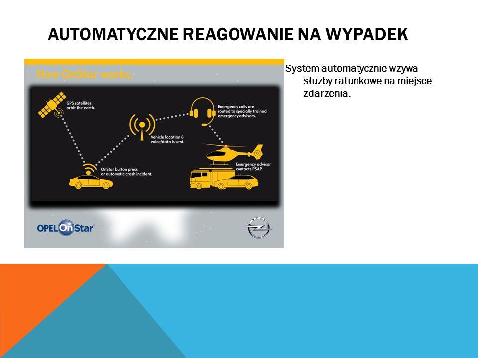 AUTOMATYCZNE REAGOWANIE NA WYPADEK System automatycznie wzywa służby ratunkowe na miejsce zdarzenia.