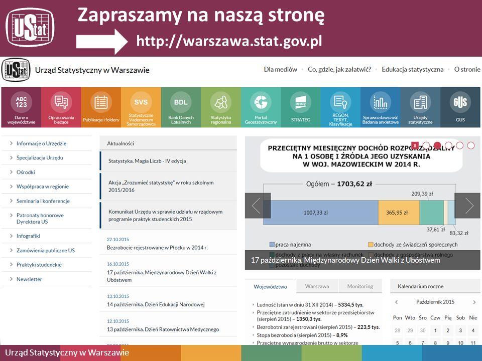 Mazowiecki Ośrodek Badań Regionalnych URZĄD STATYSTYCZNY W WARSZAWIE Zapraszamy na stronę internetową Urzędu Statystycznego w Warszawie http://warszawa.stat.gov.pl