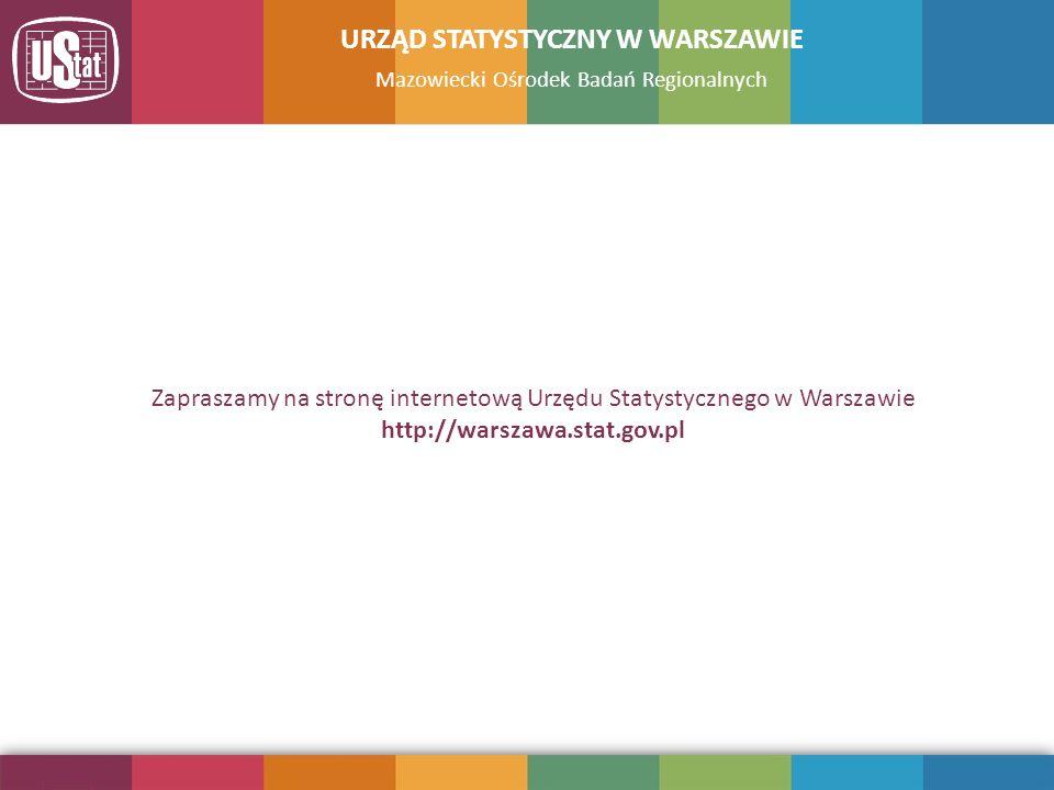 Mazowiecki Ośrodek Badań Regionalnych URZĄD STATYSTYCZNY W WARSZAWIE Zapraszamy na stronę internetową Urzędu Statystycznego w Warszawie http://warszaw