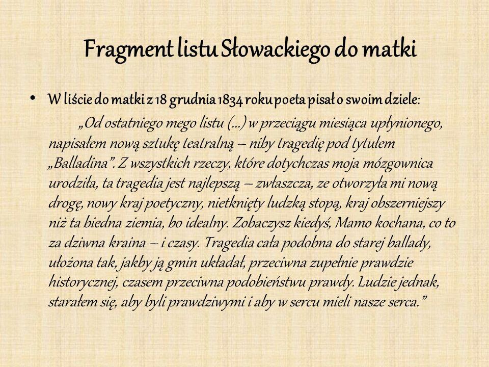 """Fragment listu Słowackiego do matki W liście do matki z 18 grudnia 1834 roku poeta pisał o swoim dziele: """"Od ostatniego mego listu (...) w przeciągu miesiąca upłynionego, napisałem nową sztukę teatralną – niby tragedię pod tytułem """"Balladina ."""