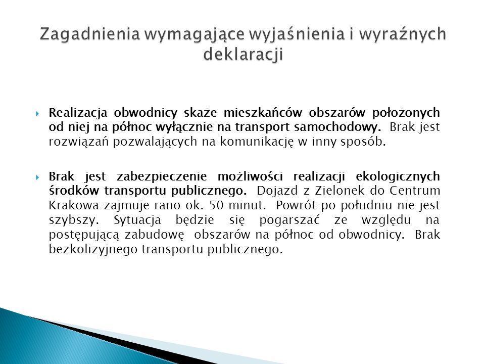  Realizacja obwodnicy skaże mieszkańców obszarów położonych od niej na północ wyłącznie na transport samochodowy.