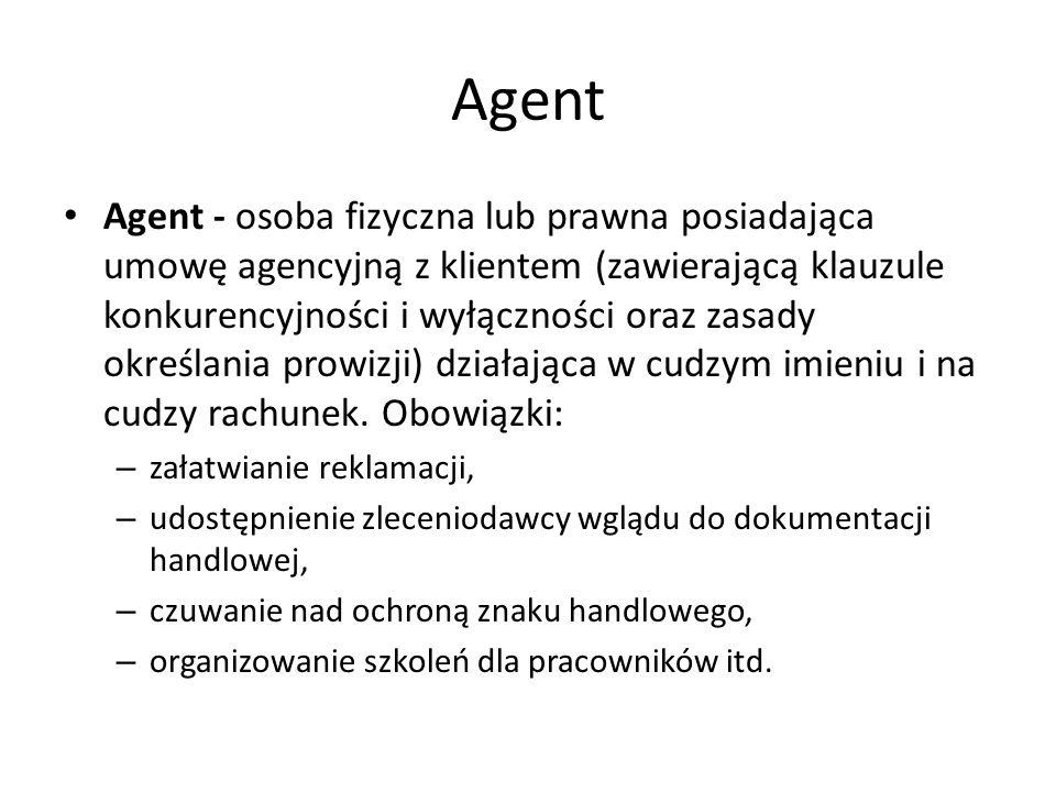 Agent Agent - osoba fizyczna lub prawna posiadająca umowę agencyjną z klientem (zawierającą klauzule konkurencyjności i wyłączności oraz zasady określ