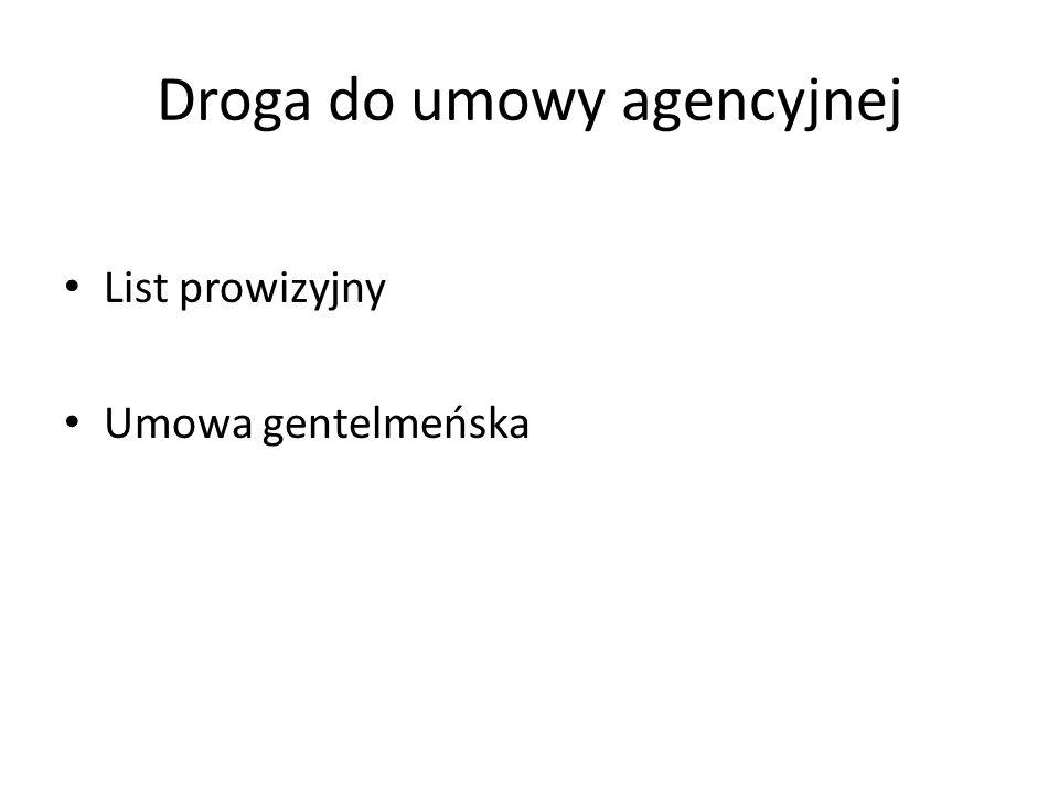 Droga do umowy agencyjnej List prowizyjny Umowa gentelmeńska