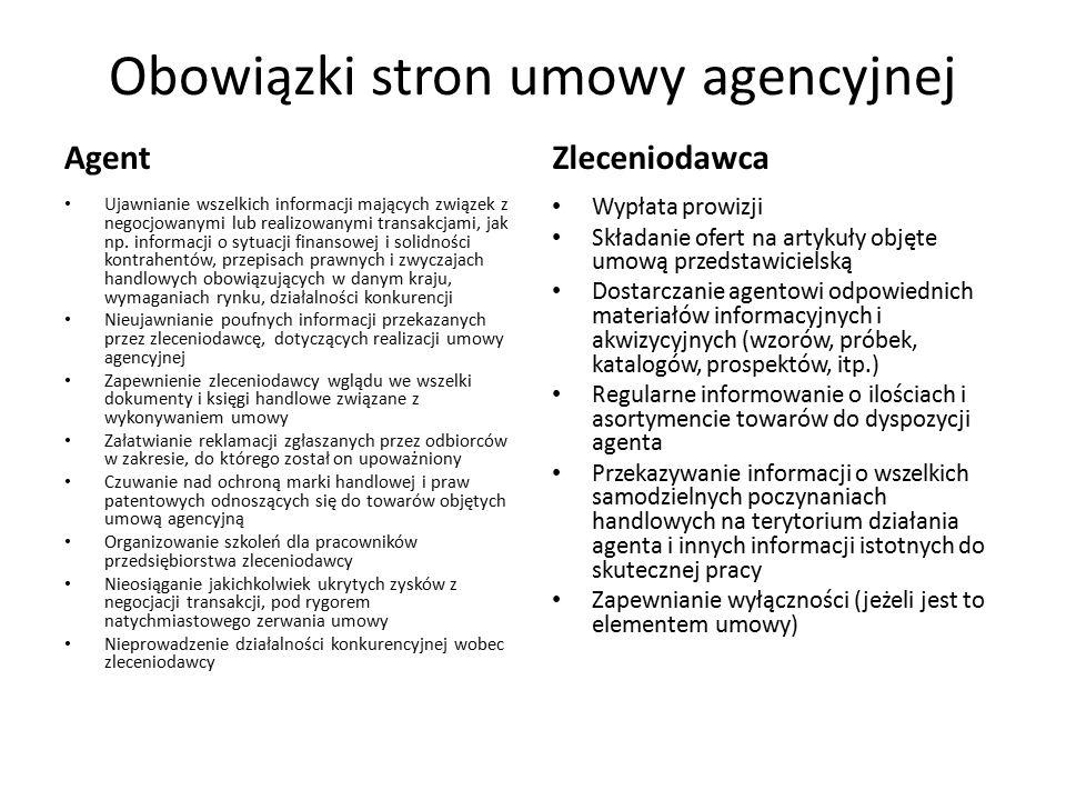 Obowiązki stron umowy agencyjnej Agent Ujawnianie wszelkich informacji mających związek z negocjowanymi lub realizowanymi transakcjami, jak np. inform