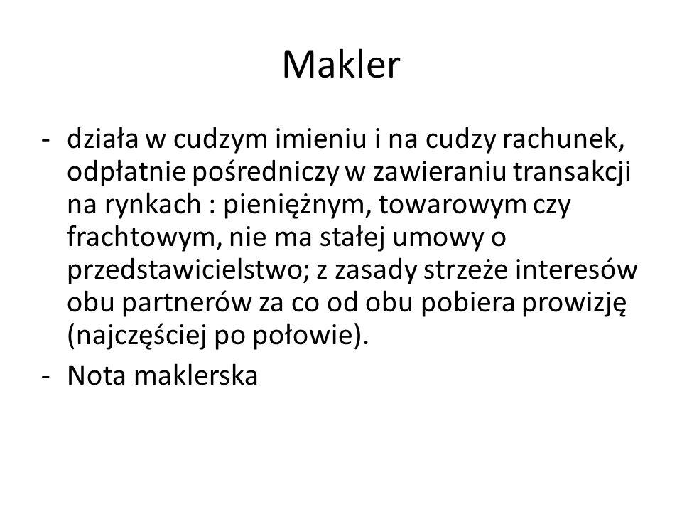 Makler -działa w cudzym imieniu i na cudzy rachunek, odpłatnie pośredniczy w zawieraniu transakcji na rynkach : pieniężnym, towarowym czy frachtowym,