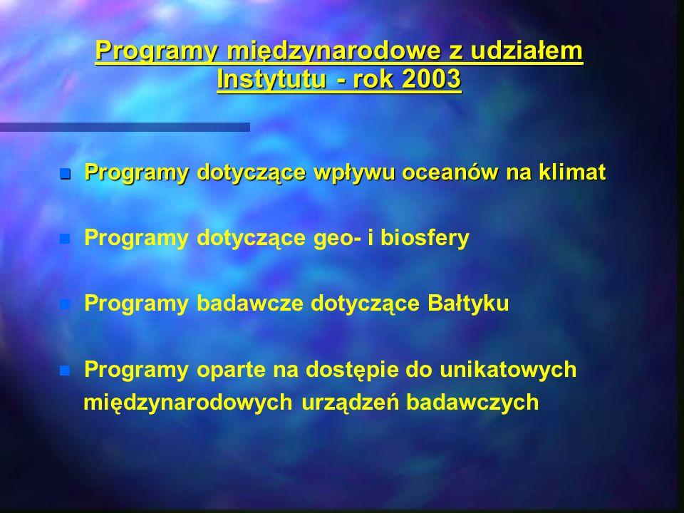 Programy międzynarodowe z udziałem Instytutu - rok 2003 n Programy dotyczące wpływu oceanów na klimat n n Programy dotyczące geo- i biosfery n n Progr