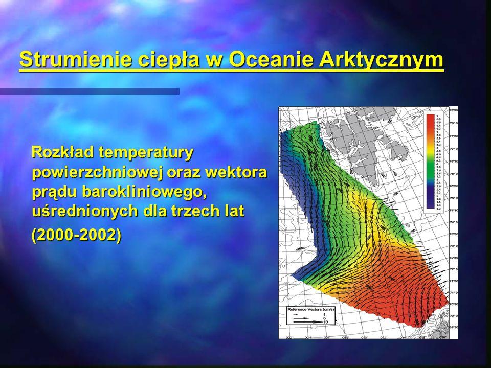 Strumienie ciepła w Oceanie Arktycznym Rozkład temperatury powierzchniowej oraz wektora prądu barokliniowego, uśrednionych dla trzech lat Rozkład temp