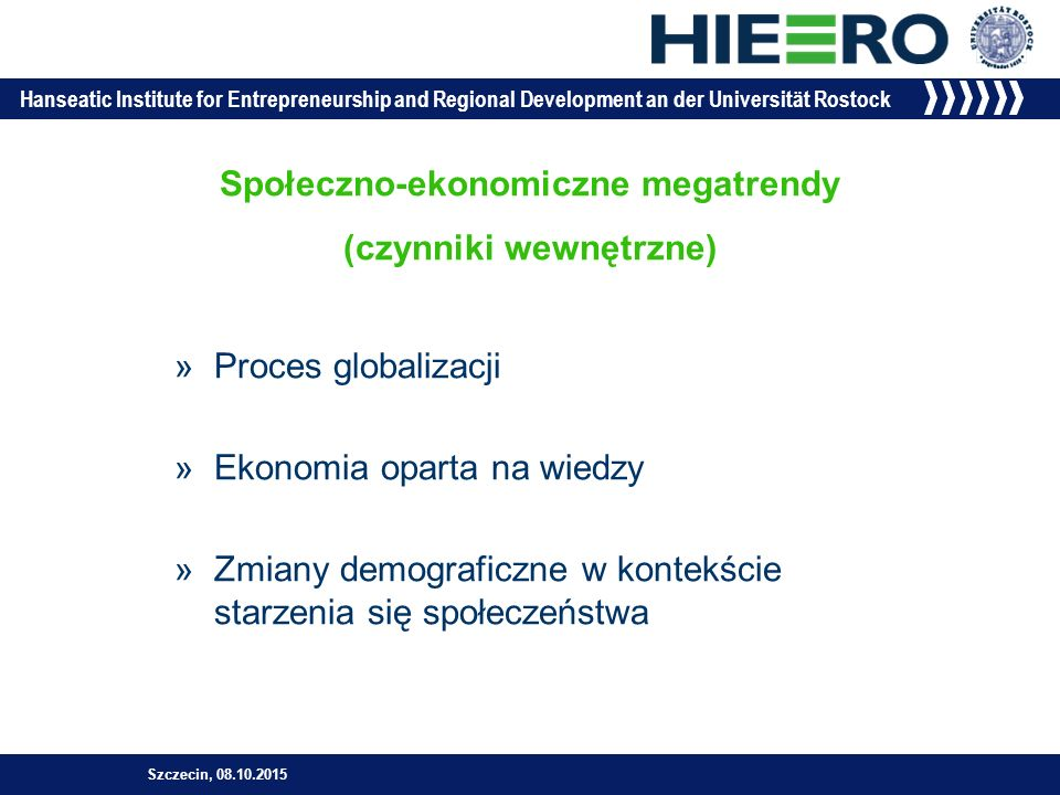 Hanseatic Institute for Entrepreneurship and Regional Development an der Universität Rostock 15 NaukaBiznesPolityka Triple Helix Szczecin, 08.10.2015