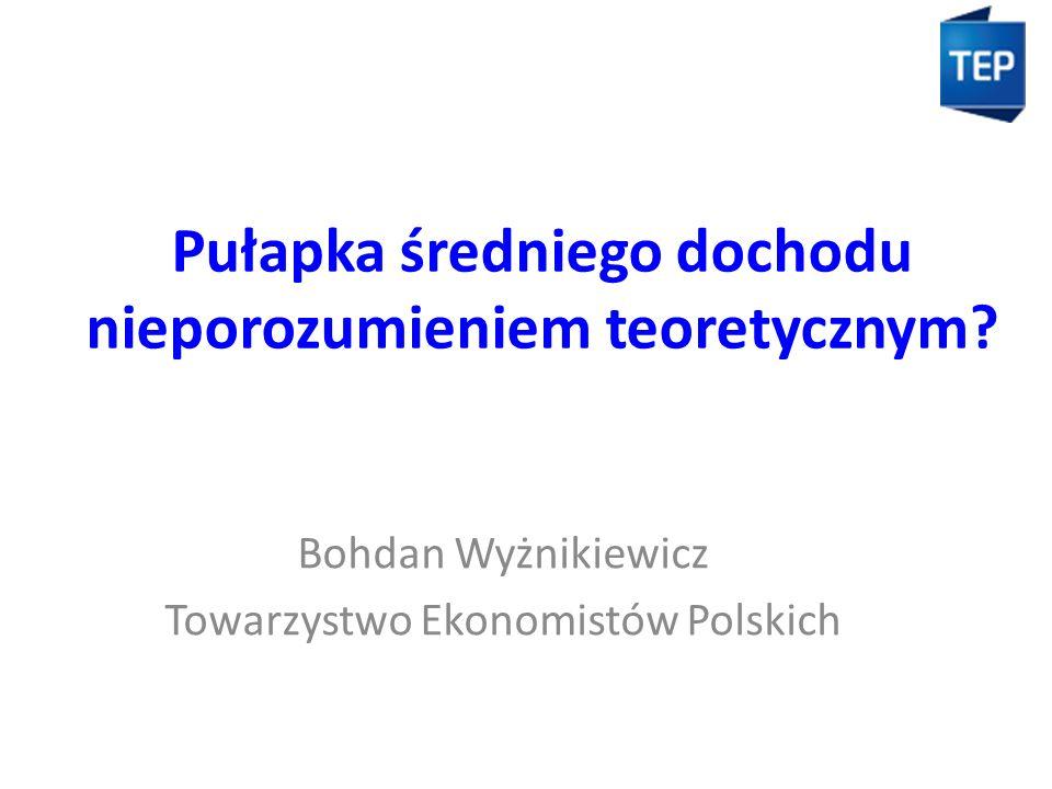 Pułapka średniego dochodu nieporozumieniem teoretycznym? Bohdan Wyżnikiewicz Towarzystwo Ekonomistów Polskich