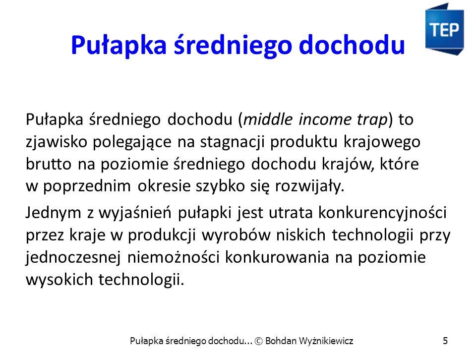 Pułapka średniego dochodu Pułapka średniego dochodu (middle income trap) to zjawisko polegające na stagnacji produktu krajowego brutto na poziomie śre