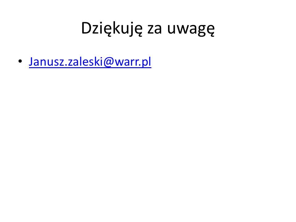 Dziękuję za uwagę Janusz.zaleski@warr.pl