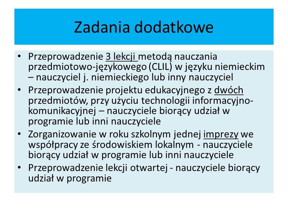 Zadania dodatkowe Przeprowadzenie 3 lekcji metodą nauczania przedmiotowo-językowego (CLIL) w języku niemieckim – nauczyciel j.
