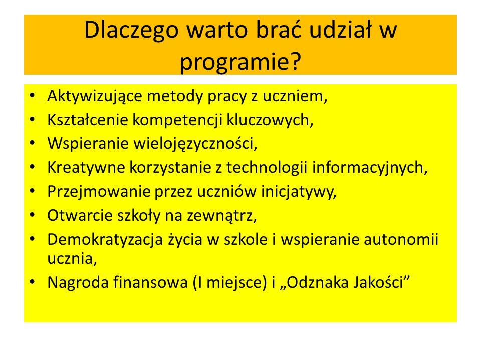 Dlaczego warto brać udział w programie? Aktywizujące metody pracy z uczniem, Kształcenie kompetencji kluczowych, Wspieranie wielojęzyczności, Kreatywn