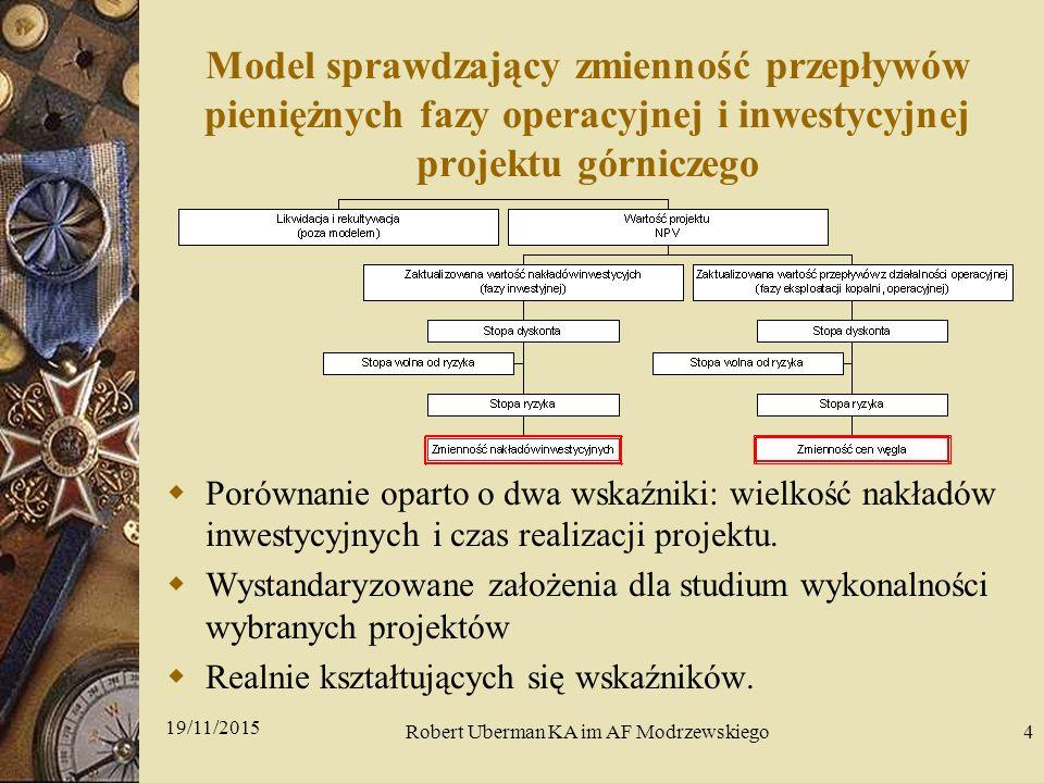 Model sprawdzający zmienność przepływów pieniężnych fazy operacyjnej i inwestycyjnej projektu górniczego  Porównanie oparto o dwa wskaźniki: wielkość