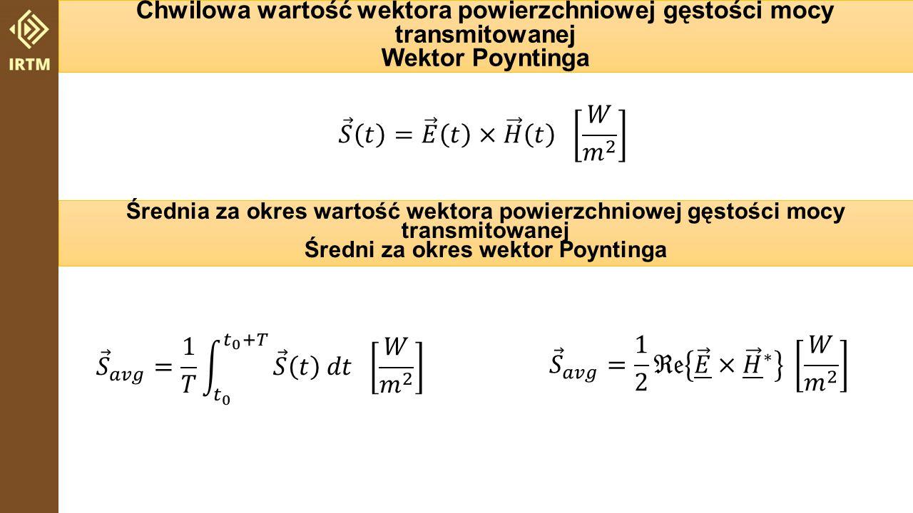 Chwilowa wartość objętościowej gęstość energii magazynowanej w polu… Przypadek ogólny Ośrodek izotropowy Średnia za okres wartość objętościowej gęstość energii magazynowanej w polu… elektrycznymmagnetycznym elektrycznymmagnetycznym