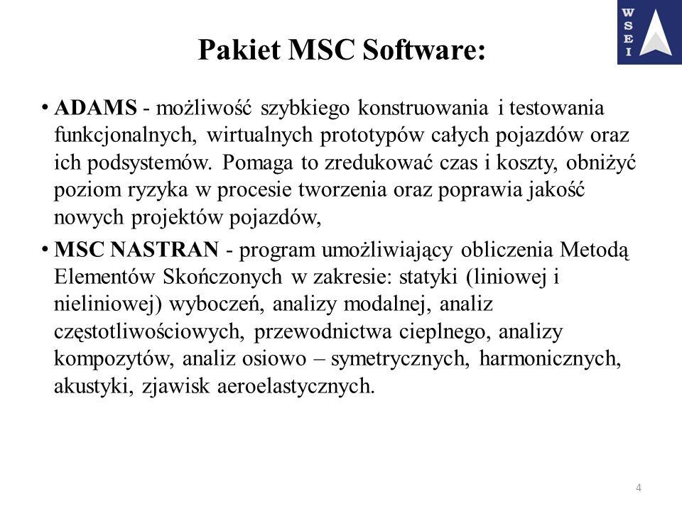 Pakiet MSC Software: ADAMS - możliwość szybkiego konstruowania i testowania funkcjonalnych, wirtualnych prototypów całych pojazdów oraz ich podsystemó