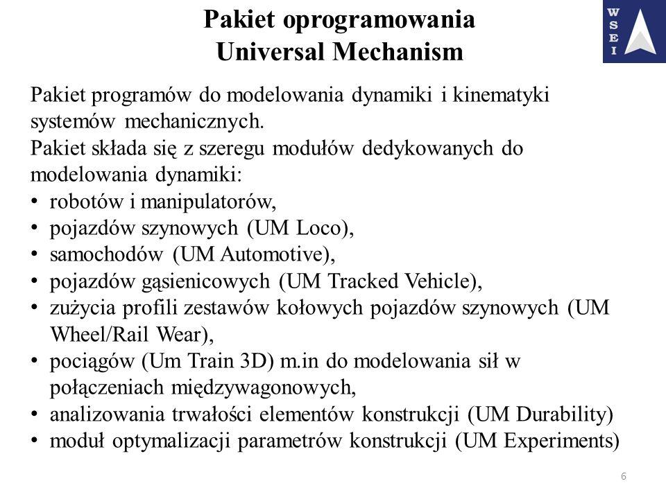 Pakiet oprogramowania Universal Mechanism 6 Pakiet programów do modelowania dynamiki i kinematyki systemów mechanicznych. Pakiet składa się z szeregu