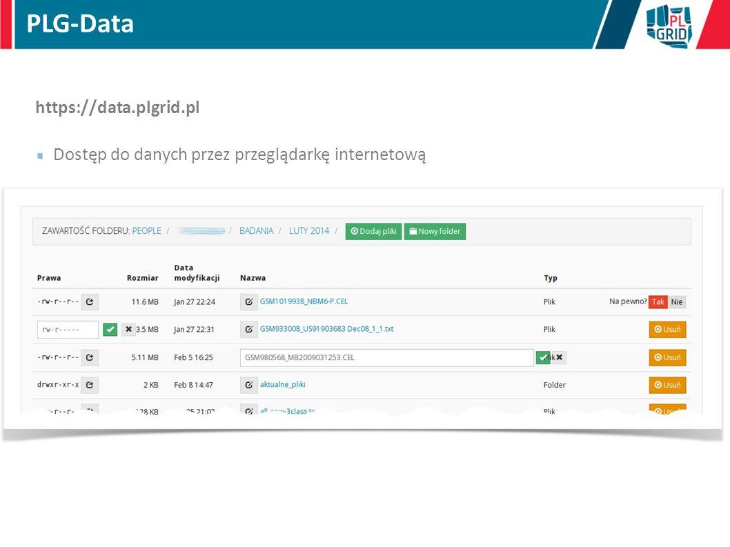 PLG-Data https://data.plgrid.pl Dostęp do danych przez przeglądarkę internetową