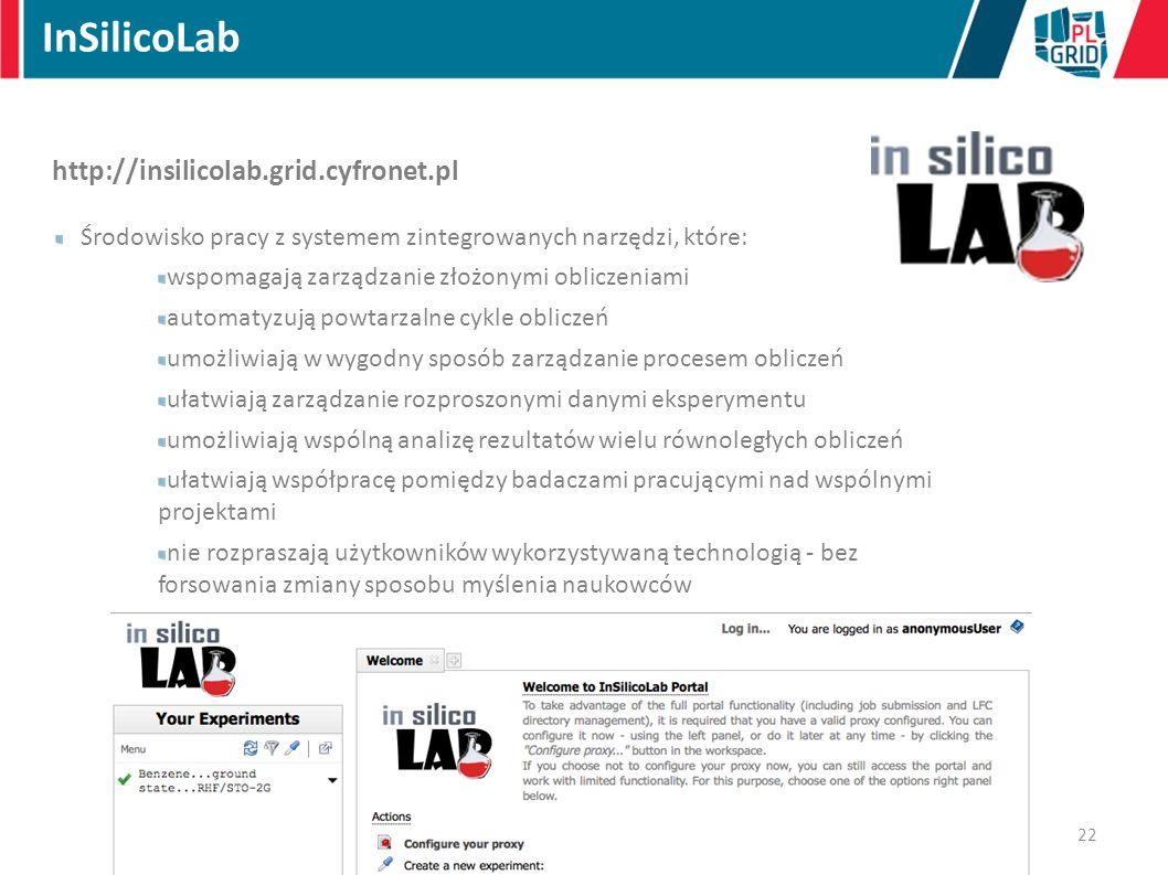 http://insilicolab.grid.cyfronet.pl Środowisko pracy z systemem zintegrowanych narzędzi, które: wspomagają zarządzanie złożonymi obliczeniami automatyzują powtarzalne cykle obliczeń umożliwiają w wygodny sposób zarządzanie procesem obliczeń ułatwiają zarządzanie rozproszonymi danymi eksperymentu umożliwiają wspólną analizę rezultatów wielu równoległych obliczeń ułatwiają współpracę pomiędzy badaczami pracującymi nad wspólnymi projektami nie rozpraszają użytkowników wykorzystywaną technologią - bez forsowania zmiany sposobu myślenia naukowców 22 InSilicoLab