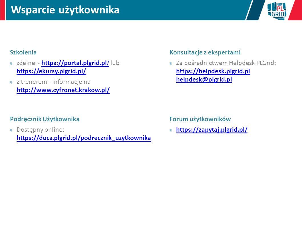 Szkolenia zdalne - https://portal.plgrid.pl/ lub https://ekursy.plgrid.pl/https://portal.plgrid.pl/ https://ekursy.plgrid.pl/ z trenerem - informacje na http://www.cyfronet.krakow.pl/ http://www.cyfronet.krakow.pl/ Podręcznik Użytkownika Dostępny online: https://docs.plgrid.pl/podrecznik_uzytkownika https://docs.plgrid.pl/podrecznik_uzytkownika Wsparcie użytkownika Konsultacje z ekspertami Za pośrednictwem Helpdesk PLGrid: https://helpdesk.plgrid.pl helpdesk@plgrid.pl https://helpdesk.plgrid.pl helpdesk@plgrid.pl Forum użytkowników https://zapytaj.plgrid.pl/
