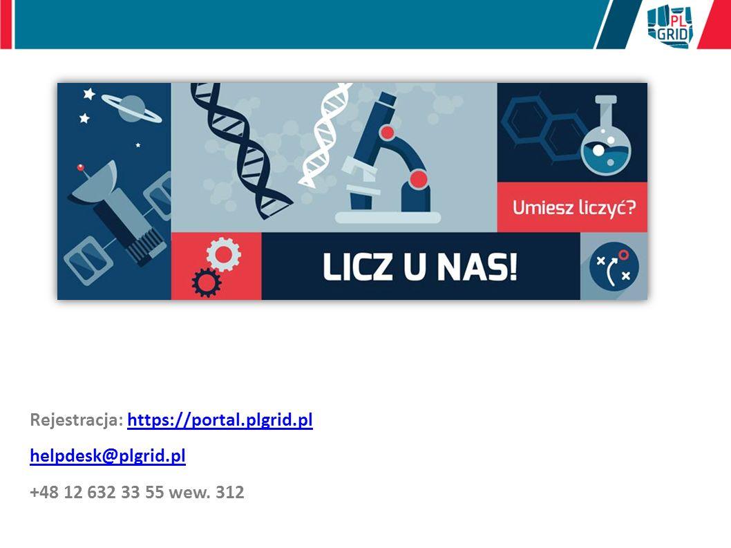 Rejestracja: https://portal.plgrid.plhttps://portal.plgrid.pl helpdesk@plgrid.pl +48 12 632 33 55 wew.