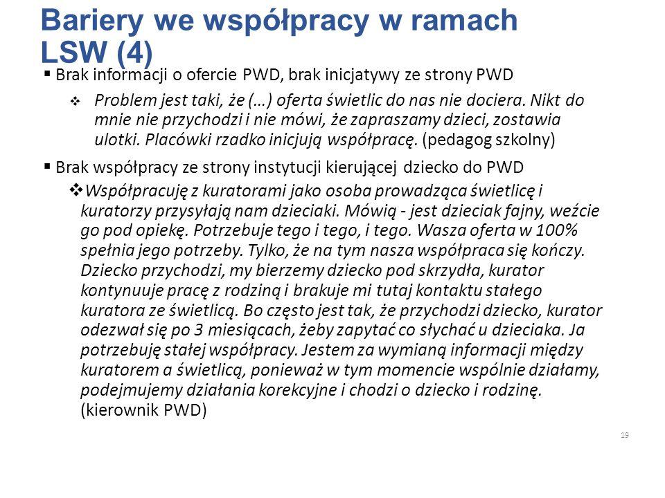 Bariery we współpracy w ramach LSW (4)  Brak informacji o ofercie PWD, brak inicjatywy ze strony PWD  Problem jest taki, że (…) oferta świetlic do nas nie dociera.