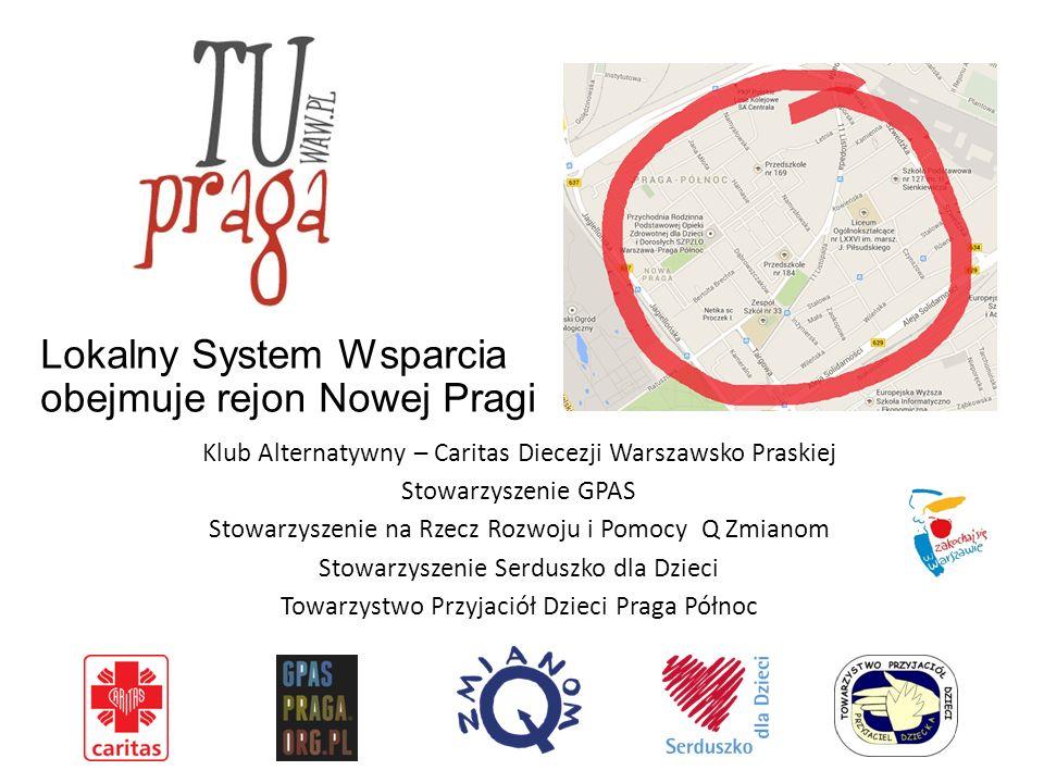 Lokalny System Wsparcia obejmuje rejon Nowej Pragi Klub Alternatywny – Caritas Diecezji Warszawsko Praskiej Stowarzyszenie GPAS Stowarzyszenie na Rzecz Rozwoju i Pomocy Q Zmianom Stowarzyszenie Serduszko dla Dzieci Towarzystwo Przyjaciół Dzieci Praga Północ