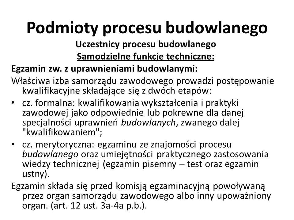 Podmioty procesu budowlanego Uczestnicy procesu budowlanego Samodzielne funkcje techniczne: Egzamin zw. z uprawnieniami budowlanymi: Właściwa izba sam