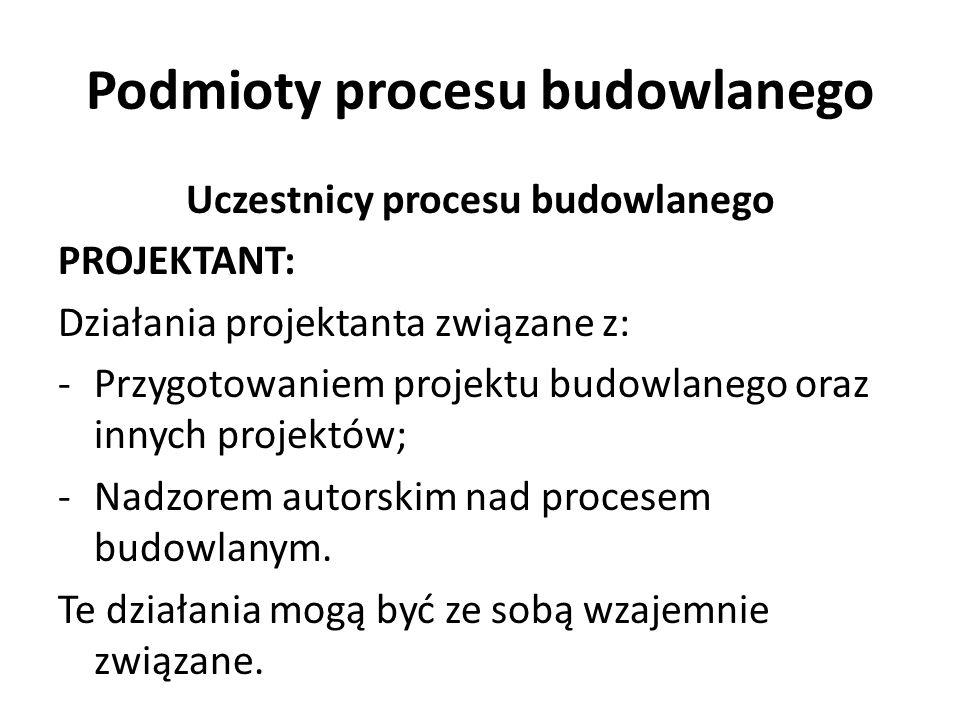 Podmioty procesu budowlanego Uczestnicy procesu budowlanego PROJEKTANT: Działania projektanta związane z: -Przygotowaniem projektu budowlanego oraz in