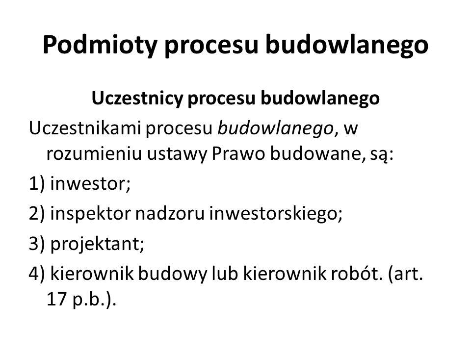 Podmioty procesu budowlanego Uczestnicy procesu budowlanego Uczestnikami procesu budowlanego, w rozumieniu ustawy Prawo budowane, są: 1) inwestor; 2)