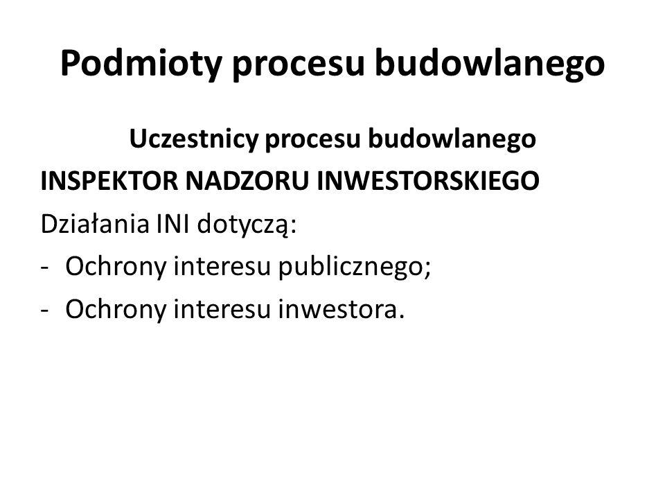 Podmioty procesu budowlanego Uczestnicy procesu budowlanego INSPEKTOR NADZORU INWESTORSKIEGO Działania INI dotyczą: -Ochrony interesu publicznego; -Oc