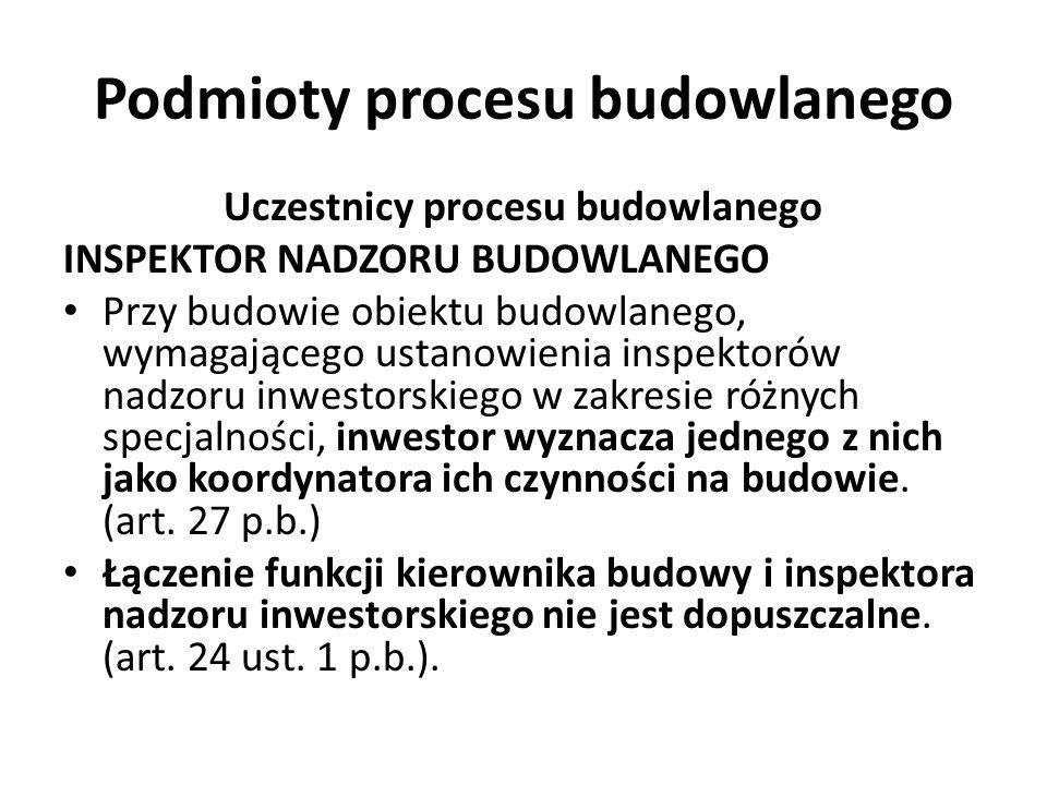 Podmioty procesu budowlanego Uczestnicy procesu budowlanego INSPEKTOR NADZORU BUDOWLANEGO Przy budowie obiektu budowlanego, wymagającego ustanowienia
