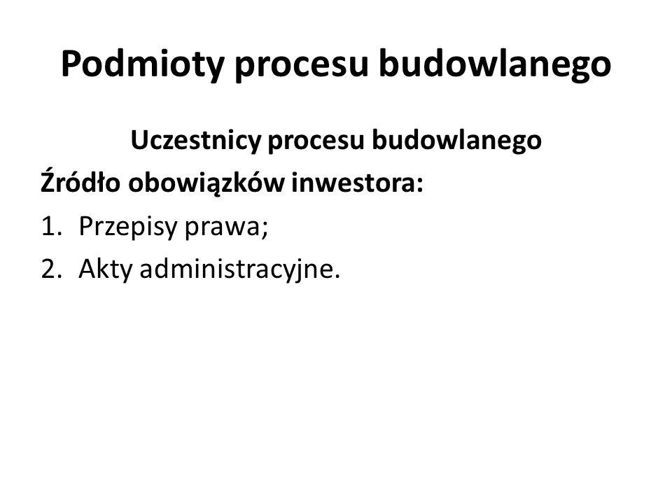 Podmioty procesu budowlanego Uczestnicy procesu budowlanego Obowiązki inwestora: Zorganizowanie procesu budowlanego, w tym aspekcie jest ograniczony: -Przepisami prawa, w tym: 1.prawa budowlanego; 2.Przepisami zasad bezpieczeństwa i ochrony zdrowia (art.