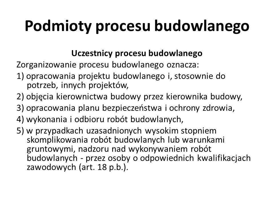 Podmioty procesu budowlanego Uczestnicy procesu budowlanego OBOWIĄZKI PROJEKTANTA: Do podstawowych obowiązków projektanta należy: 1.opracowanie projektu budowlanego w sposób zgodny z: wymaganiami ustawy, ustaleniami określonymi w decyzjach administracyjnych dotyczących zamierzenia budowlanego, obowiązującymi przepisami oraz zasadami wiedzy technicznej; 2.zapewnienie, w razie potrzeby: - udziału w opracowaniu projektu osób posiadających uprawnienia budowlane do projektowania w odpowiedniej specjalności oraz - wzajemne skoordynowanie techniczne wykonanych przez te osoby opracowań projektowych, zapewniające uwzględnienie zawartych w przepisach zasad bezpieczeństwa i ochrony zdrowia w procesie budowy, z uwzględnieniem specyfiki projektowanego obiektu budowlanego (art.