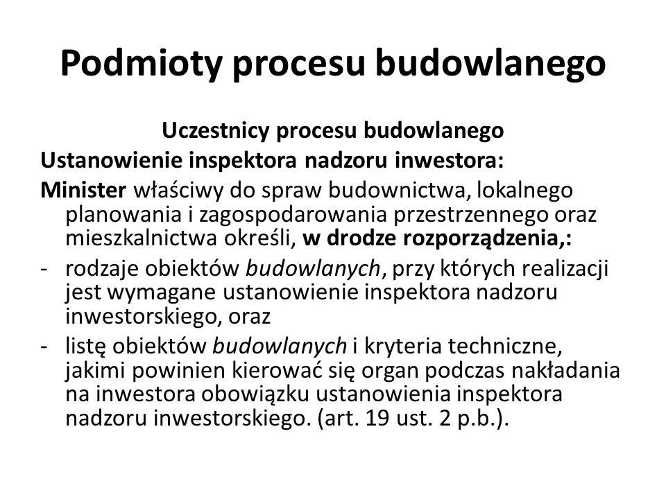 Podmioty procesu budowlanego Uczestnicy procesu budowlanego Samodzielne funkcje techniczne: Samodzielną funkcją techniczną w budownictwie jest działalność związaną z: -koniecznością fachowej oceny zjawisk technicznych lub -samodzielnego rozwiązania zagadnień architektonicznych i technicznych oraz techniczno-organizacyjnych, a w szczególności działalność obejmującą: 1) projektowanie, sprawdzanie projektów architektoniczno- budowlanych i sprawowanie nadzoru autorskiego; 2) kierowanie budową lub innymi robotami budowlanymi; 3) kierowanie wytwarzaniem konstrukcyjnych elementów budowlanych oraz nadzór i kontrolę techniczną wytwarzania tych elementów; 4) wykonywanie nadzoru inwestorskiego; 5) sprawowanie kontroli technicznej utrzymania obiektów budowlanych (art.