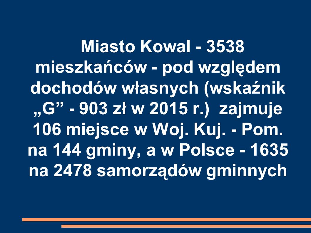 """Miasto Kowal - 3538 mieszkańców - pod względem dochodów własnych (wskaźnik """"G"""" - 903 zł w 2015 r.) zajmuje 106 miejsce w Woj. Kuj. - Pom. na 144 gminy"""