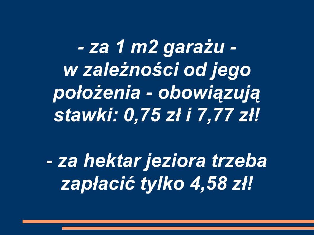 - za 1 m2 garażu - w zależności od jego położenia - obowiązują stawki: 0,75 zł i 7,77 zł! - za hektar jeziora trzeba zapłacić tylko 4,58 zł!