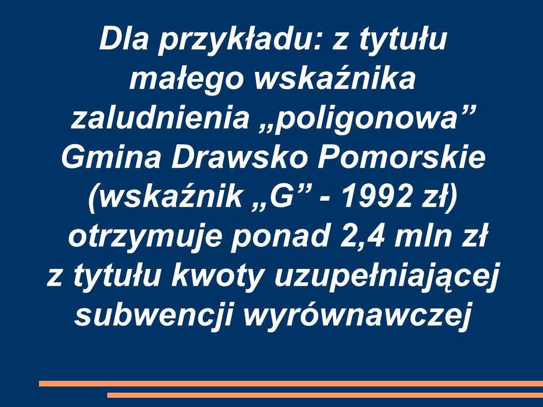 """Dla przykładu: z tytułu małego wskaźnika zaludnienia """"poligonowa"""" Gmina Drawsko Pomorskie (wskaźnik """"G"""" - 1992 zł) otrzymuje ponad 2,4 mln zł z tytułu"""