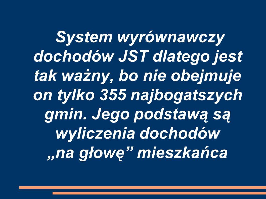 System wyrównawczy dochodów JST dlatego jest tak ważny, bo nie obejmuje on tylko 355 najbogatszych gmin.