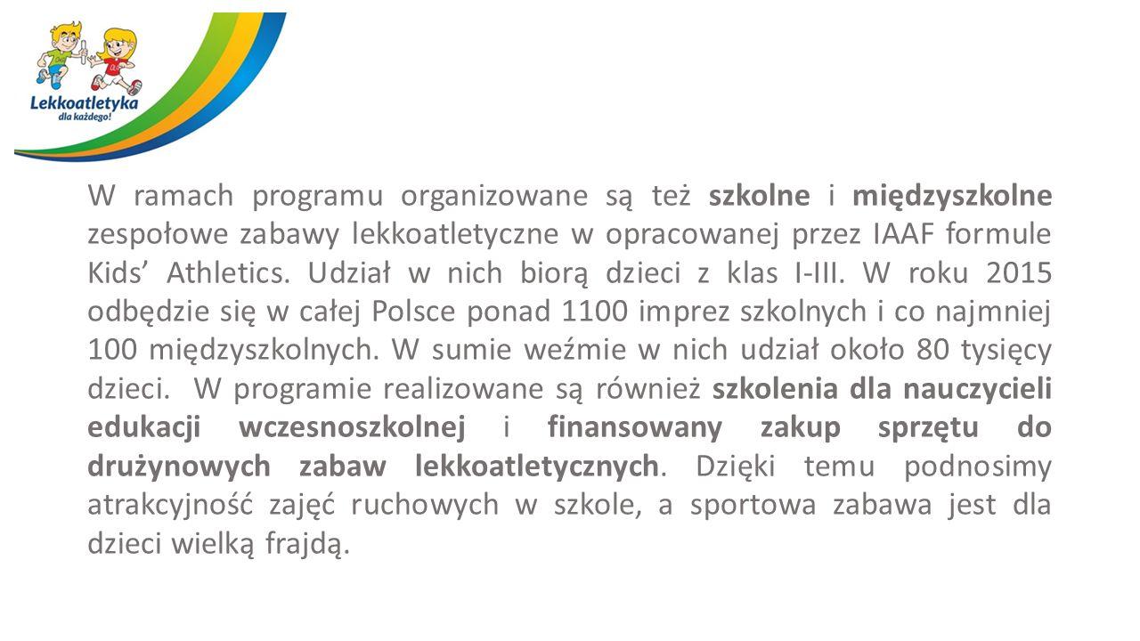 W ramach programu organizowane są też szkolne i międzyszkolne zespołowe zabawy lekkoatletyczne w opracowanej przez IAAF formule Kids' Athletics.