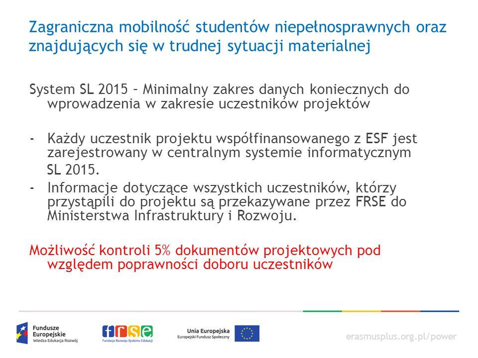 erasmusplus.org.pl/power Zagraniczna mobilność studentów niepełnosprawnych oraz znajdujących się w trudnej sytuacji materialnej System SL 2015 – Minimalny zakres danych koniecznych do wprowadzenia w zakresie uczestników projektów -Każdy uczestnik projektu współfinansowanego z ESF jest zarejestrowany w centralnym systemie informatycznym SL 2015.