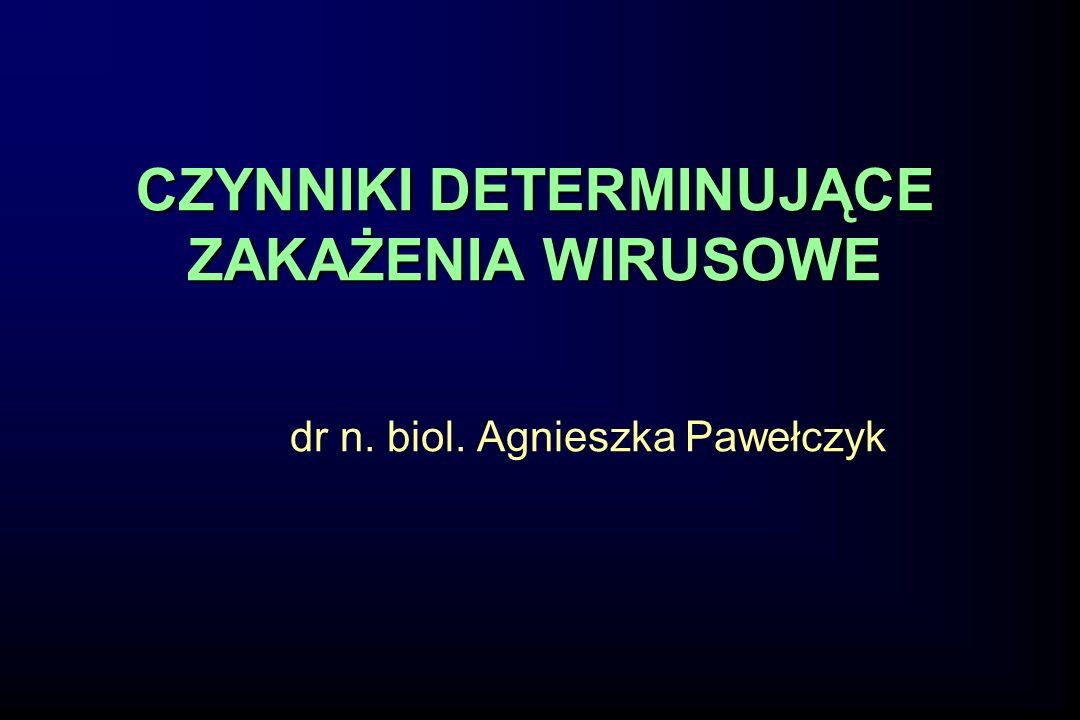 CZYNNIKI DETERMINUJĄCE ZAKAŻENIA WIRUSOWE dr n. biol. Agnieszka Pawełczyk