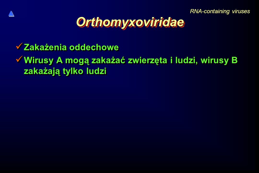 OrthomyxoviridaeOrthomyxoviridae Zakażenia oddechowe Zakażenia oddechowe Wirusy A mogą zakażać zwierzęta i ludzi, wirusy B zakażają tylko ludzi Wirusy A mogą zakażać zwierzęta i ludzi, wirusy B zakażają tylko ludzi Zakażenia oddechowe Zakażenia oddechowe Wirusy A mogą zakażać zwierzęta i ludzi, wirusy B zakażają tylko ludzi Wirusy A mogą zakażać zwierzęta i ludzi, wirusy B zakażają tylko ludzi RNA-containing viruses